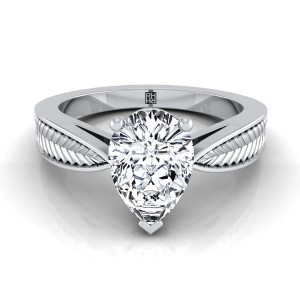 Classic 3 Prong Pear Shape Diamond Engagement Ring With Leaf Texture Design In 14k White Gold