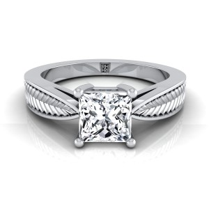 Classic 4 Prong Princess Cut Diamond Engagement Ring With Leaf Texture Design In 14k White Gold