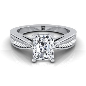 Classic 4 Prong Radiant Cut Diamond Engagement Ring With Leaf Texture Design In 14k White Gold