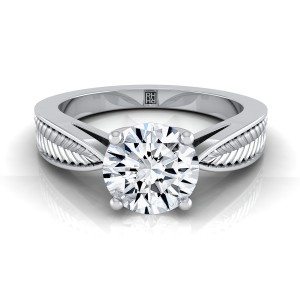 Classic 4 Prong Diamond Engagement Ring With Leaf Texture Design In 14k White Gold