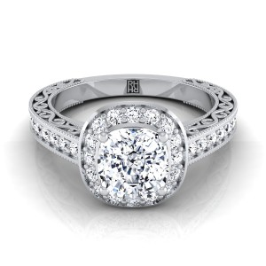Cushion Cut Diamond Halo Engagement Ring With Scroll Design Shank In 14k White Gold (1/2 Ct.tw.)