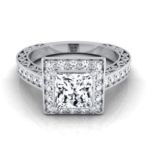 Princess Cut Diamond Halo Engagement Ring With Scroll Design Shank In 14k White Gold (1/2 Ct.tw.)