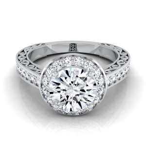 Diamond Halo Engagement Ring With Scroll Design Shank In 14k White Gold (1/2 Ct.tw.)