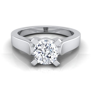 Cushion Cut Diamond Solitaire Engagement Ring With Cathedral Setting And Squared Edge Shank In 14k White Gold