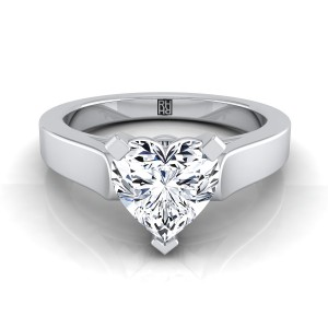 Heart Shape Diamond Solitaire Engagement Ring With Cathedral Setting And Squared Edge Shank In 14k White Gold