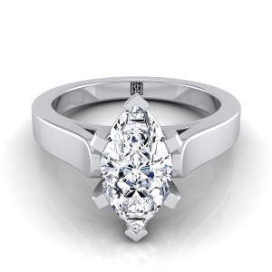 Marquise Diamond Solitaire Engagement Ring With Cathedral Setting And Squared Edge Shank In 14k White Gold
