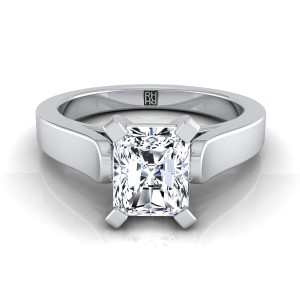 Radiant Cut Diamond Solitaire Engagement Ring With Cathedral Setting And Squared Edge Shank In 14k White Gold