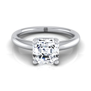 Asscher Cut Diamond Solitaire 4-prong Engagement Ring With Rounded Shank In 14k White Gold
