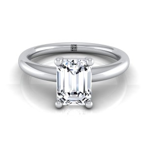 Emerald Cut Diamond Solitaire 4-prong Engagement Ring With Rounded Shank In 14k White Gold