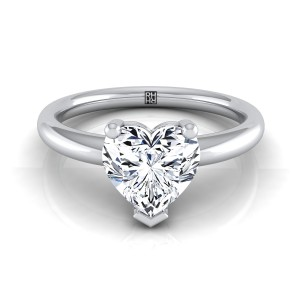 Heart Shape Diamond Solitaire Engagement Ring With Rounded Shank In 14k White Gold