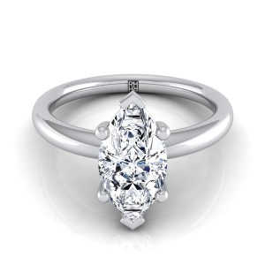 Marquise Diamond Solitaire 6-prong Engagement Ring With Rounded Shank In 14k White Gold