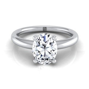 Oval Diamond Solitaire 4-prong Engagement Ring With Rounded Shank In 14k White Gold