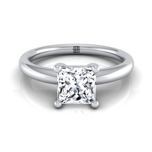 Princess Cut Diamond Solitaire 4-prong Engagement Ring With Rounded Shank In 14k White Gold
