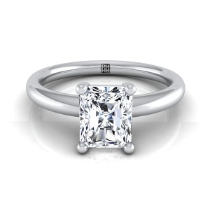 Radiant Diamond Solitaire 4-prong Engagement Ring With Rounded Shank In 14k White Gold