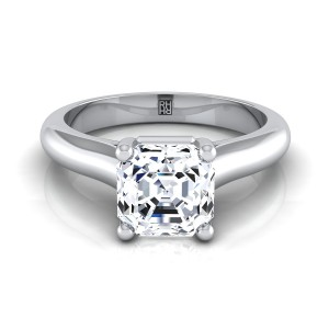 Asscher Cut Diamond Solitaire Cathedral Setting Engagement Ring With Half Rounded Shank In 14k White Gold
