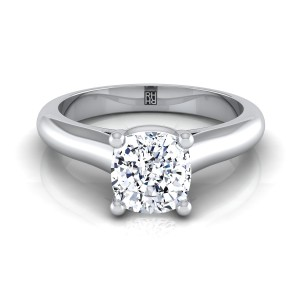 Cushion Cut Diamond Solitaire Cathedral Setting Engagement Ring With Half Rounded Shank In 14k White Gold