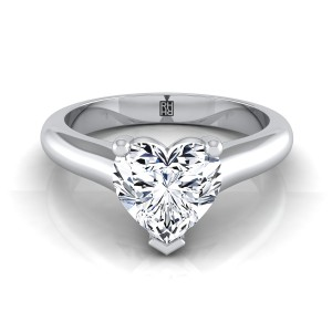 Heart Shape Diamond Solitaire Cathedral Setting Engagement Ring With Half Rounded Shank In 14k White Gold