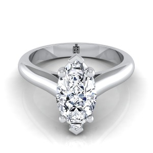 Marquise Diamond Solitaire Engagement Ring With Half Rounded Shank In 14k White Gold
