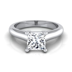 Princess Cut Diamond Solitaire Cathedral Setting Engagement Ring With Half Rounded Shank In 14k White Gold