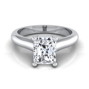 Radiant Cut Diamond Solitaire Cathedral Setting Engagement Ring With Half Rounded Shank In 14k White Gold