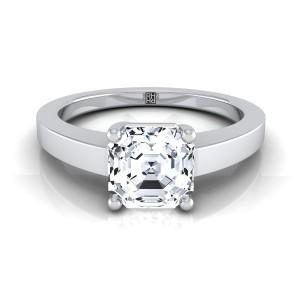 Asscher Cut Diamond Solitaire Flat Shank Engagement Ring In 14k White Gold