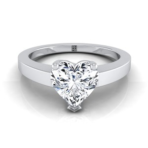 Heart Shape Diamond Solitaire Flat Shank Engagement Ring In 14k White Gold