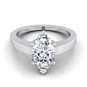 Marquise Diamond Solitaire Flat Shank Engagement Ring In 14k White Gold