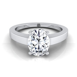 Oval Diamond Solitaire Flat Shank Engagement Ring In 18k White Gold