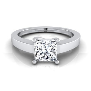 Princess Cut Diamond Solitaire Flat Shank Engagement Ring In 14k White Gold