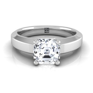 Asscher Cut Diamond Engagement Ring With Beveled Edge Shank In 18k White Gold