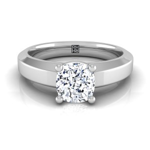 Cushion Cut Diamond Solitaire Engagement Ring With Beveled Edge Shank In 14k White Gold