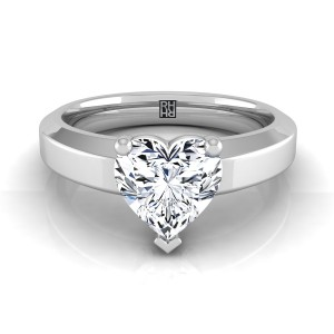Heart Shape Diamond Solitaire Engagement Ring With Beveled Edge Shank In 14k White Gold