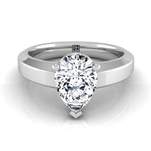 Pear Shape Diamond Engagement Ring With Beveled Edge Shank In Platinum
