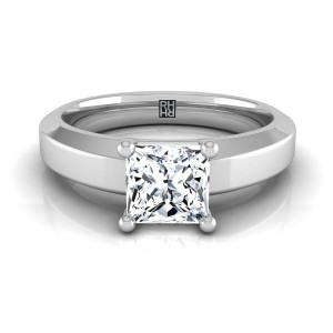 Princess Cut Diamond Engagement Ring With Beveled Edge Shank In 14k White Gold