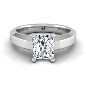 Radiant Cut Diamond Engagement Ring With Beveled Edge Shank In 14k White Gold