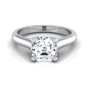 Asscher Cut Diamond Solitaire Engagement Ring With Rounded Shank And Cathedral Setting In 14k White Gold