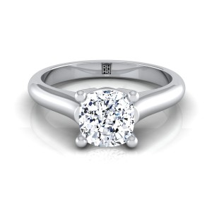 Cushion Cut Diamond Solitaire Engagement Ring With Rounded Shank And Cathedral Setting In 14k White Gold