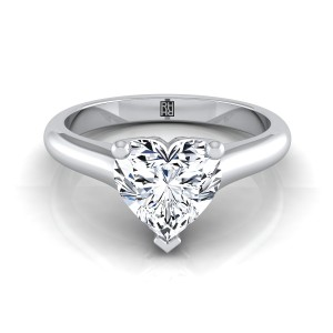 Heart Shape Diamond Solitaire Engagement Ring With Rounded Shank And Cathedral Setting In 14k White Gold