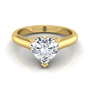 Heart Shape Diamond Solitaire Engagement Ring With Rounded Shank And Cathedral Setting In 18k Yellow Gold