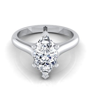 Marquise Diamond Solitaire Engagement Ring With Rounded Shank And Cathedral Setting In 14k White Gold