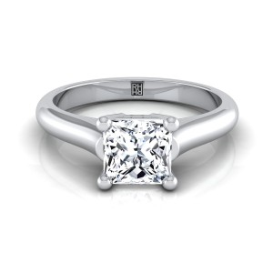 Princess Cut Diamond Solitaire Engagement Ring With Rounded Shank And Cathedral Setting In 14k White Gold