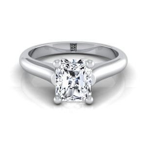 Radiant Diamond Solitaire Engagement Ring With Rounded Shank And Cathedral Setting In 14k White Gold
