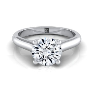 Diamond Solitaire Engagement Ring With Rounded Shank And Cathedral Setting In 14k White Gold