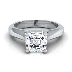 Asscher Cut Diamond Graduated Beveled Shank Solitaire Ring With Cathedral Setting In 14k White Gold