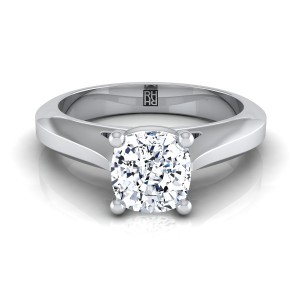 Cushion Cut Diamond Graduated Beveled Shank Solitaire Ring With Cathedral Setting In 14k White Gold