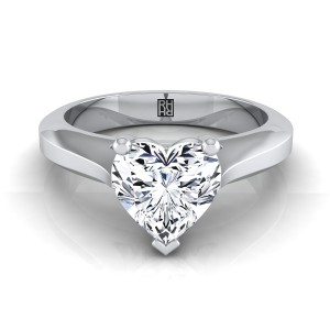 Heart Shape Diamond Graduated Beveled Shank Solitaire Ring With Cathedral Setting In 14k White Gold