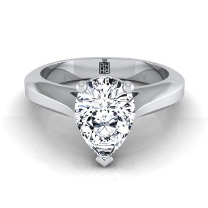 Pear Shape Diamond Graduated Beveled Shank Solitaire Ring With Cathedral Setting In 14k White Gold