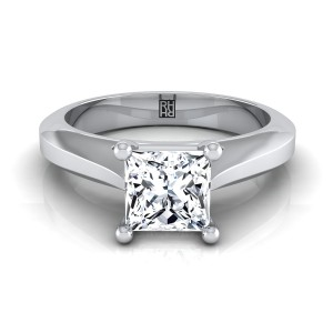 Princess Cut Diamond Graduated Beveled Shank Solitaire Ring With Cathedral Setting In 14k White Gold