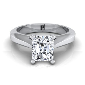 Radiant Cut Diamond Graduated Beveled Shank Solitaire Ring With Cathedral Setting In 14k White Gold