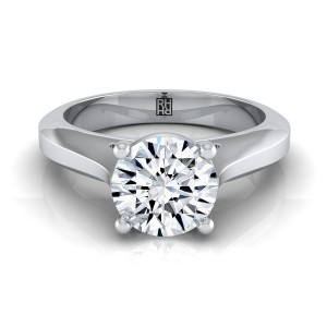 Diamond Graduated Beveled Shank Solitaire Ring With Cathedral Setting In 14k White Gold